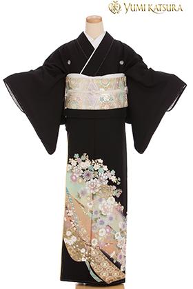 正絹 黒留袖 5紋 120084 桂由美・花咲く丘