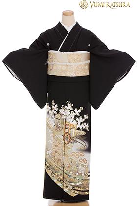正絹 黒留袖 5紋 120085 桂由美・花見遊山・御所車