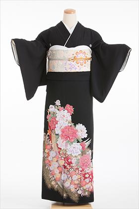 正絹 黒留袖 5紋 125028 赤系 牡丹 孔雀羽根【姉妹向け】