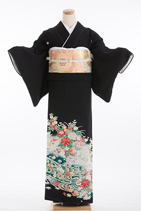 正絹 黒留袖 5紋 125031  グリーン 花籠 流水【姉妹向け】
