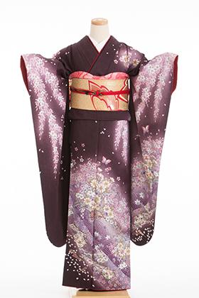 正絹・振袖【2月-12月】140072 濃紫 小花 模様