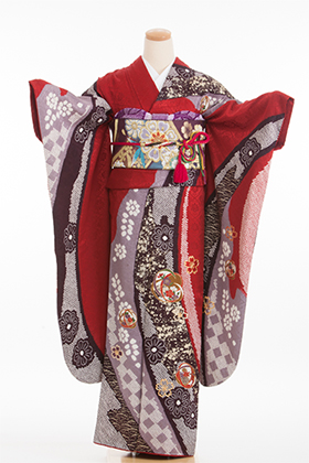 正絹・振袖【2月-12月】140075 赤 薄紫 絞り柄