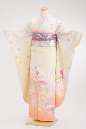 正絹・振袖【2月-12月】140079 イエロー 裾オレン 小花模様