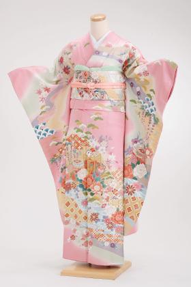 正絹・振袖【2月-12月】140083 ピンク 紗綾型 刺繍