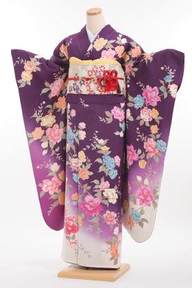 成人式用 振袖 140093-S モリハナエ 紫 洋花
