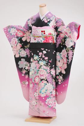 正絹・振袖【2月-12月】140104 押切もえ 黒 黒肩紫 ピンク花
