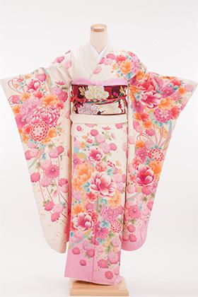 正絹・振袖【2月-12月】140105 押切もえ オフホワイト ピンク花