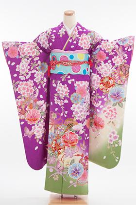 正絹・振袖【2月-12月】140106 ベッキー 紫 花柄