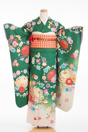 成人式用 振袖 140108-S ベッキー グリーン 小花