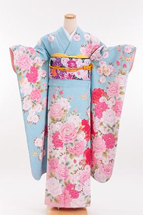 正絹・振袖【2月-12月】140109 ヒロミチナカノ 水色 薔薇