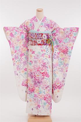 正絹・振袖【2月-12月】140112 押切もえ 白 市松 桜