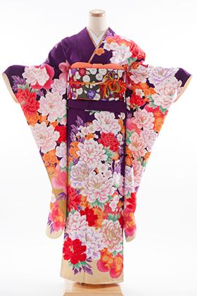 正絹・振袖【2月-12月】140114 モリハナエ 紫 牡丹