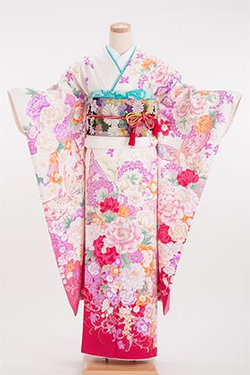 正絹・振袖【2月-12月】140115  モリハナエ森英恵 白 ピンク 蝶蝶