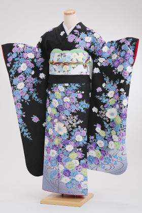 正絹・振袖【2月-12月】140116 黒地 ブルー系 花柄