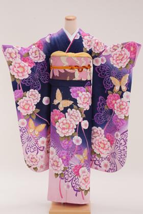 正絹・振袖【2月-12月】140118 リアディゾン 紺紫 牡丹と蝶