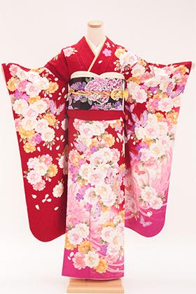 正絹・振袖【2月-12月】140123 ナカノヒロミチ 赤地 ピンク