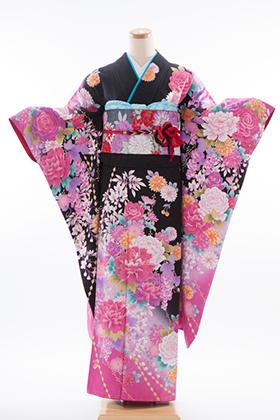 成人式用 振袖 140125-S 押切もえ 黒ラメ ピンク 花