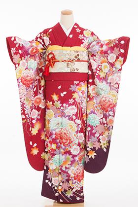 正絹・振袖【2月-12月】140126 赤地ラメ 裾茶 花ぼかし