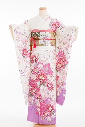 正絹・振袖【2月-12月】140127 白地 ピンク 紫花 Dream Doll