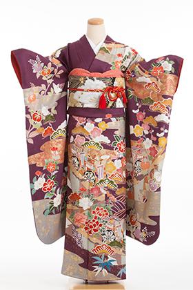 正絹・振袖【2月-12月】140128 紫サヤ形 古典柄 橘