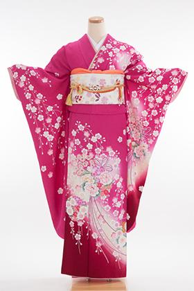 正絹・振袖【2月-12月】140129 ショッキングピンク 小花