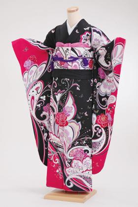成人式用 振袖 140131-S モリハナエ 森英恵 黒ピンク 蝶