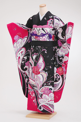 正絹・振袖【2月-12月】140131 モリハナエ 森英恵 黒ピンク 蝶