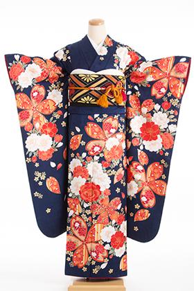正絹・振袖【2月-12月】140135 スザンヌ ネイビー 花舞妓
