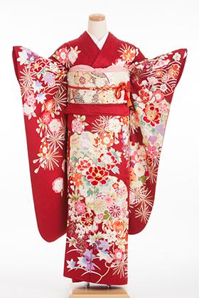 正絹・振袖【2月-12月】140139 和つう 赤地 手描き友禅 W-701