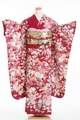 正絹・振袖【2月-12月】140143 ATELIER SAB 赤地 花柄 W-707