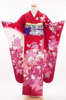 正絹・振袖【2月-12月】140148  和つう 赤地ラメ ピンク 牡丹