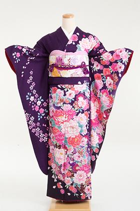 正絹・振袖【2月-12月】140150 和つう 紫 花絞り 熨斗 W-722