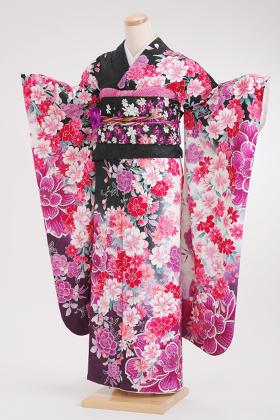 正絹・振袖【2月-12月】140153 黒・紫地 桜 コスモス