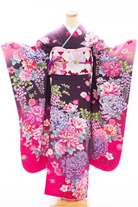 正絹・振袖【2月-12月】140155 NS オシキリモエ 茶ラメ 牡丹 菊