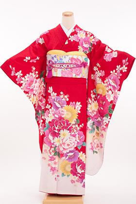 正絹・振袖【2月-12月】140156  リアディゾン 赤 猫 牡丹