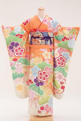 正絹・振袖【2月-12月】140158 益若つばさ 橙 古典松