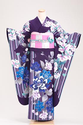 正絹・振袖【2月-12月】140160 益若つばさ 紫 ストライプ TM-11
