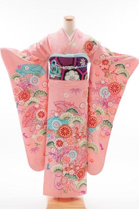 正絹・振袖【2月-12月】140161 益若つばさ ピンク古典折鶴 TM-5