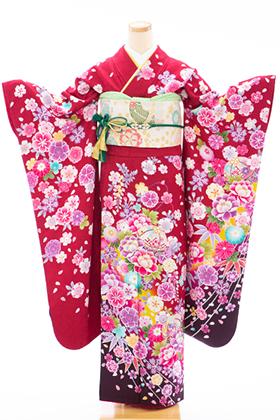 正絹・振袖【2月-12月】140170 KS 赤地裾こげ茶 鞠