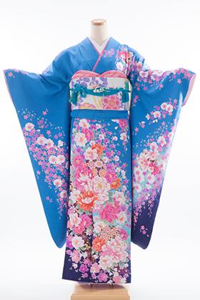 正絹・振袖【2月-12月】140171 花咲音 ブルー 鞠 熨斗