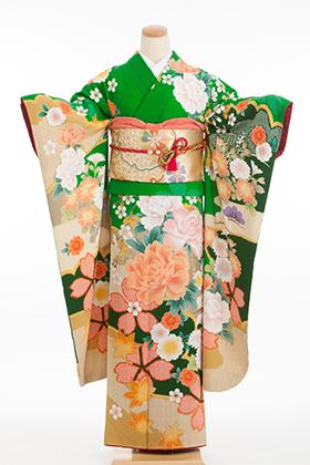成人式用 振袖 140172-S Fruru グリーン 疋田桜 牡丹
