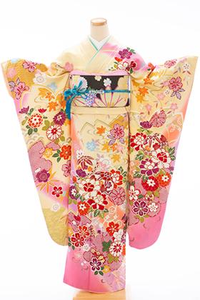 正絹・振袖【2月-12月】140173 NM Fruru 桜花手鞠/クリームピンク