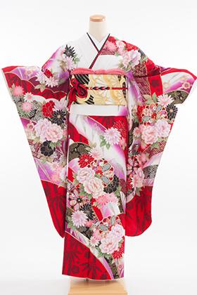 正絹・振袖【2月-12月】140175 Fururu 山取割付牡丹文 赤白