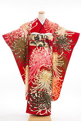 正絹・振袖【2月-12月】140179 Fruru 鶴に乱菊 赤地