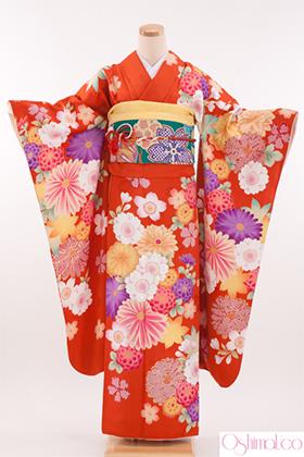 成人式用 振袖 140181-S 大島優子 オレンジ 万寿菊 OY-5