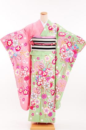 成人式用 振袖 140182-S 大島優子 花くす玉 黄緑 ピンク