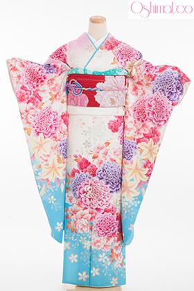 正絹・振袖【2月-12月】140184 大島優子 白水色 牡丹 桜  OY-5