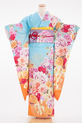 正絹・振袖【2月-12月】140185 大島優子 水色牡丹乱菊 OY-15