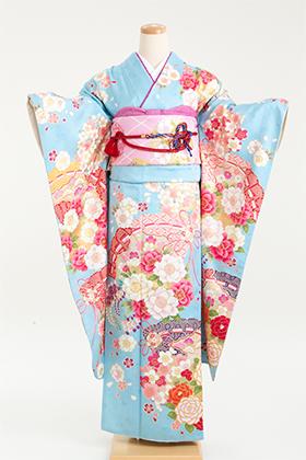 正絹・振袖【2月-12月】140191 大島優子 水色桜檜扇 OY-32