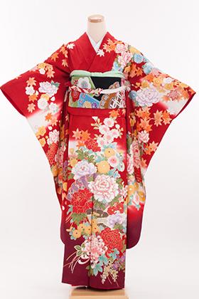 正絹・振袖【2月-12月】140194 大島優子 赤字 牡丹に檜扇 OY-37